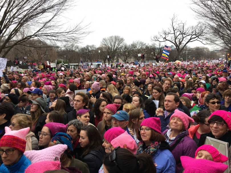 During the rally, there were crowds of women and men, in every direction, as far as the eyes could see. It was so comforting being a part of a crowd filled with so many kind, compassionate, and peaceful individuals. (Photo Sydney Fallone '17/Managing Editor)