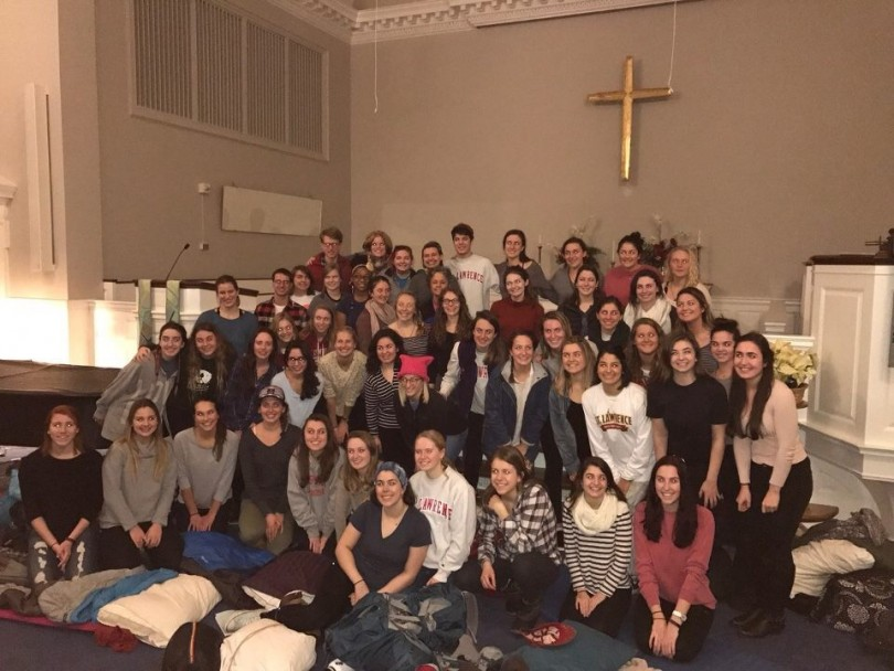 52 St. Lawrence students boarded a coach bus headed for the Women's March on Washington on Friday January 20th. They stayed in the Unitarian Universalist Church in Baltimore, Maryland thanks to a St. Lawrence connection. The group had such wonderful energy throughout the whole weekend. (Photo Sydney Fallone '17/Managing Editor)