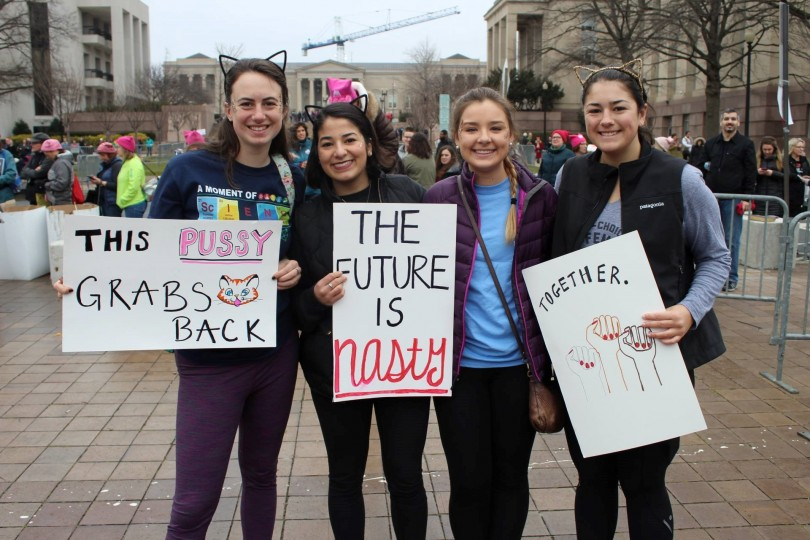 Keckeley Habel '17, Sydney Fallone '17, Emily Osiecki '19, and Julie Rogers '17 represented KDS at the march. (Photo Olivia White '17/Editor in Chief)