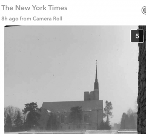 The New York Times featured a photo of Gunnison Chapel, that was submitted by Emery Younger '17, on its Winter Storm Stella Snapchat story.